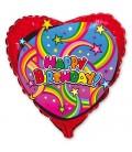 Шар сердце Happy Birthday 19 дюймов (48 см)