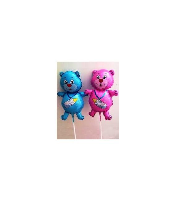 Шар Медвежонок с бутылочкой (мальчик, девочка) 59 см.