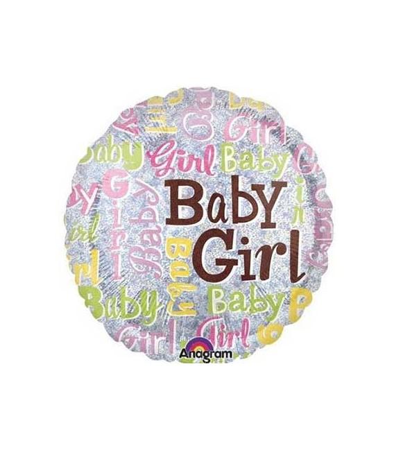 Шар Круг Baby Girl голография 18 дюймов (46 см)