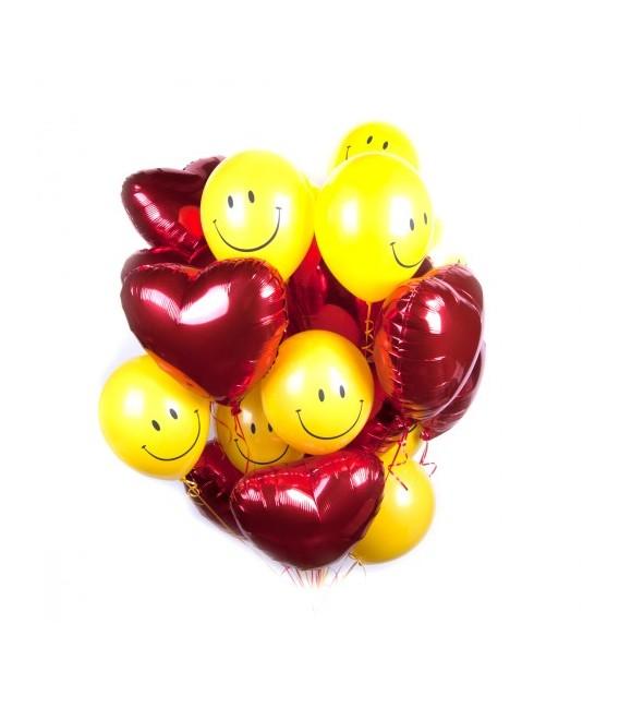 Облако из 25 шаров Сердечный Смайл