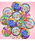 Облако из 15 фольгированных шаров 19 дюймов (48см) HAPPY BIRTHDAY
