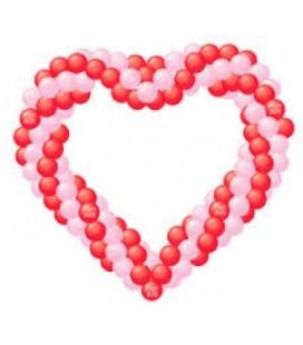 Сердце из воздушных шаров Двухцветное