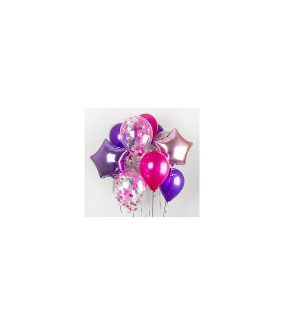Фонтан из 13 шаров Пурпурный ассорти