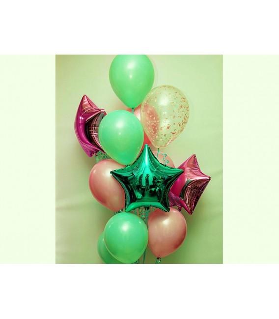 Фонтан из 13 шаров Мятно-розовый ассорти
