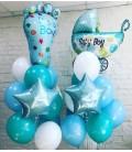 Фонтан из 18 шаров с коляской и ножкой малыша ассорти