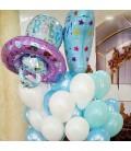 Облако из 23 шаров с соской и ножкой малыша