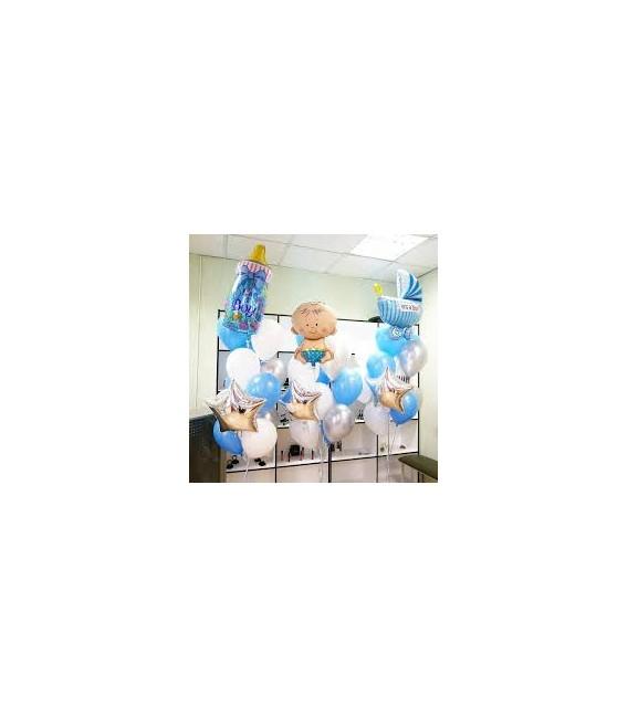 Фонтан из 25 шаров с бутылочкой ,ножкой малыша и пупсиком
