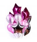 Облако из 13 шаров Розовое сияние