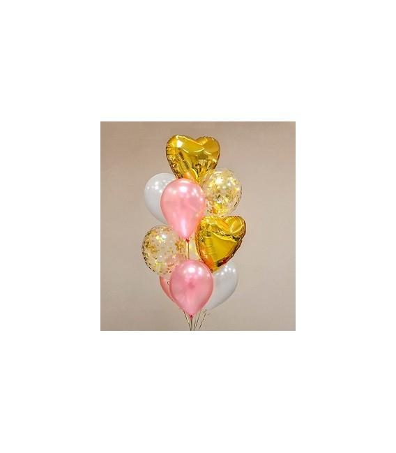Облако из 11 шаров Розовое золото