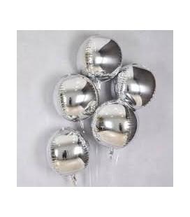 Фольгированный шар Сфера серебро 16 дюймов (41 см).