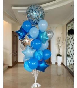 Набор из 19 шаров Голубое Серебро