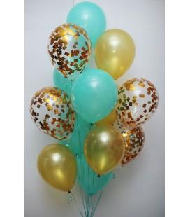 Набор из 15 шаров Мятно-золотой