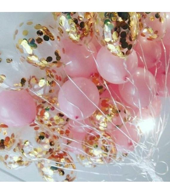 Облако из 30 шаров Нежный розово-золотой пузырек