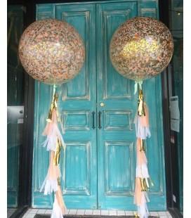 Хвостатый шар гигант с конфетти 27 дюймов (70 см)декорированный гирляндой тассел