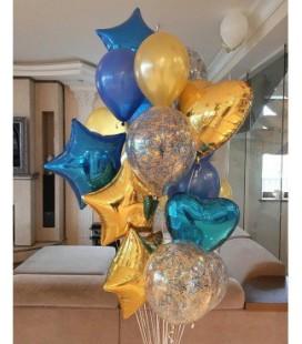 Набор из 19 шаров Синее золото