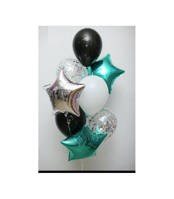 Фонтан из 9 шаров Мятное серебро