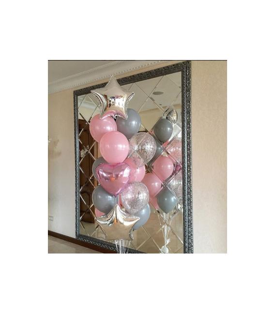 Набор из 17 шаров Розовый дым