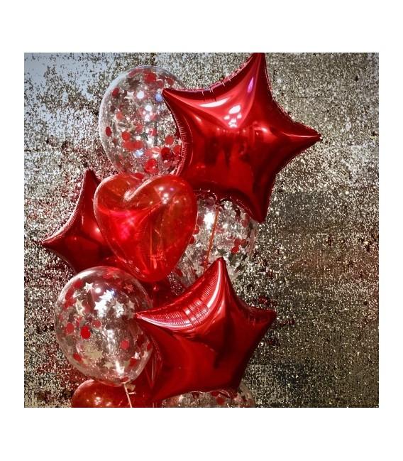 Набор из 9 шаров Сердечные звезды