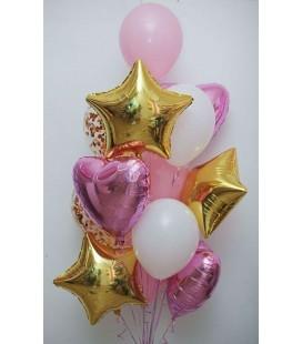 Облако из 13 шаров Большое розовое золото