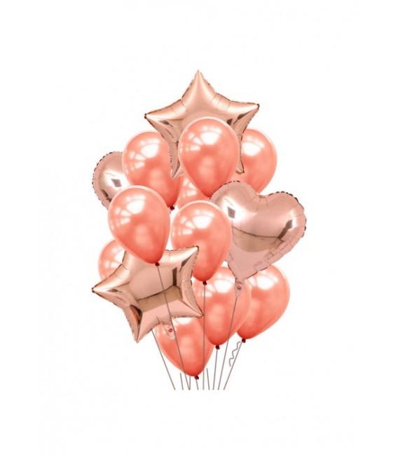 Набор из 17 шаров Розовое золото