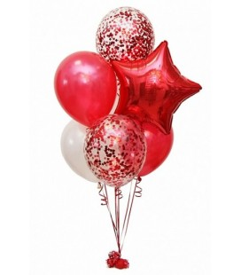 Набор из 9 шаров Яркий красный
