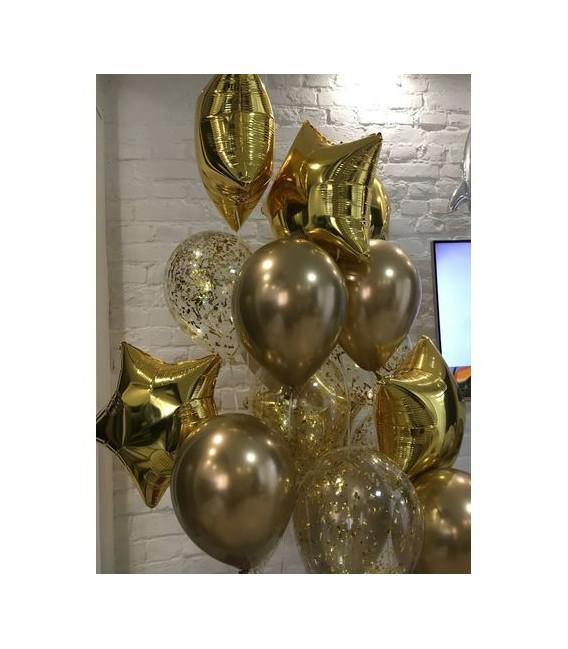 Набор из 13 шаров Хром в золоте