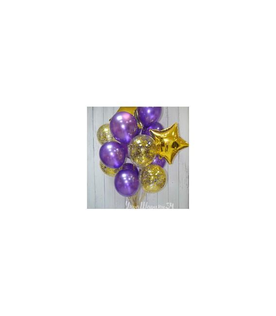 Облако из 15 шаров Золотой фиолет