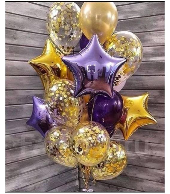 Набор из 19 шаров Фиолетово-золотая конфетти