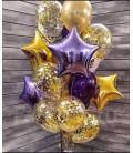 Набор из 19 шаров Фиолетово-золотое конфетти