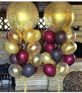 Набор из 15 шаров Золотая бургундия