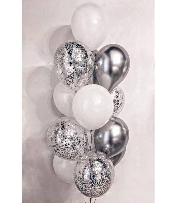 Фонтан из 13 шаров Белоснежное серебро