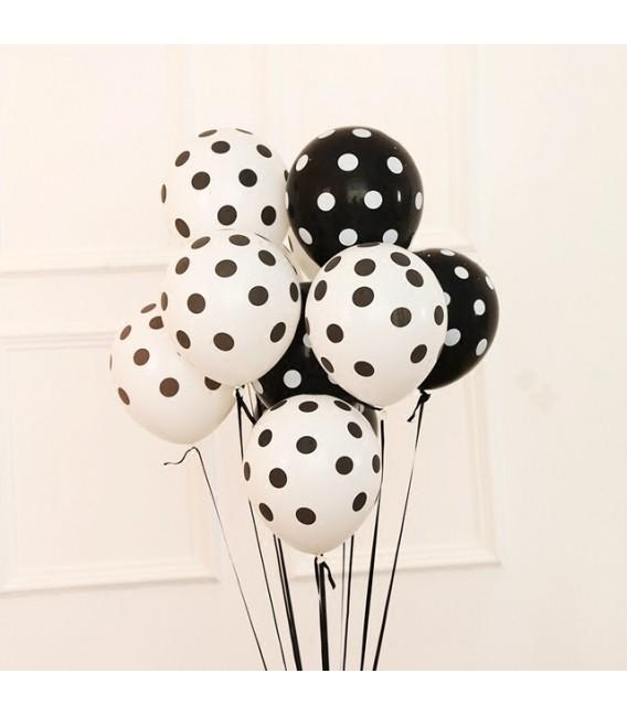 Фонтан из 11 шаров Черно-белый Горошек