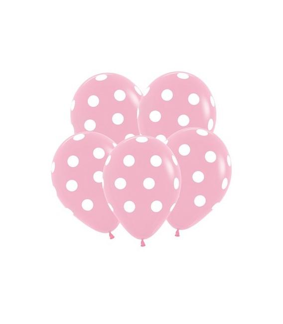 Шарик Розовый в горошек 14 дюймов (35 см)