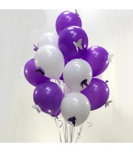 Облако из 15 шаров Бабочка пастель ассорти