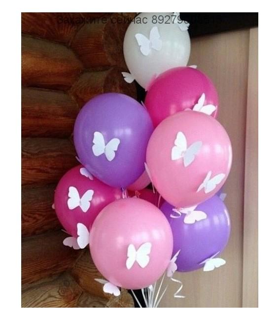Набор из 9 шаров 27 Бабочек пастель ассорти