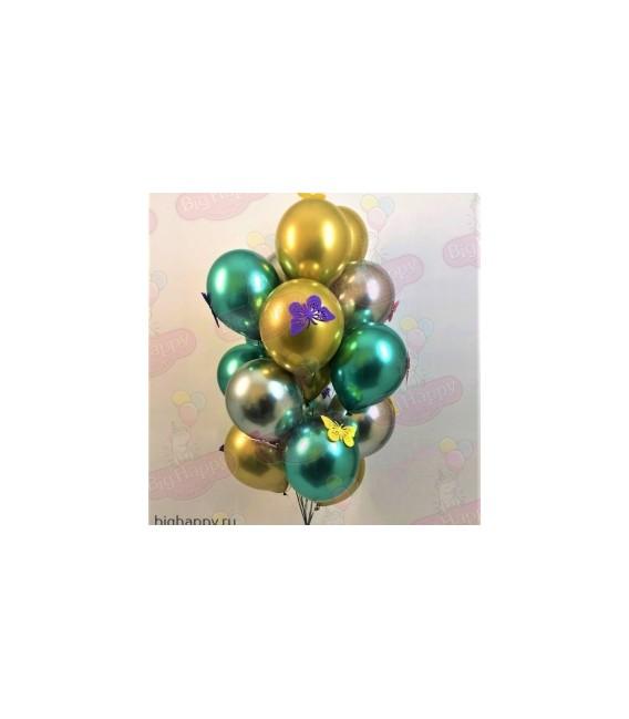 Фонтан из 15 шаров Хром с бабочками ассорти
