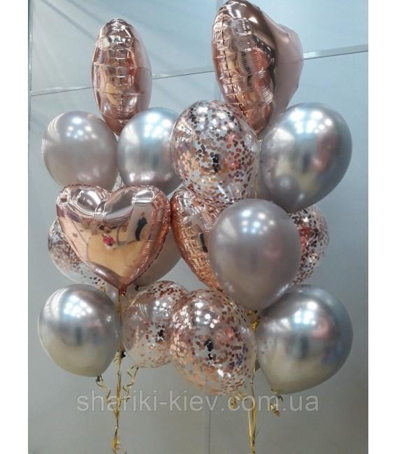 Набор из 11 шаров Розово-золотой дым