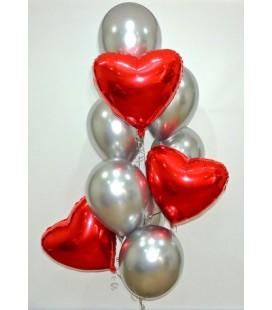 Набор из 9 шаров Сердце в тумане